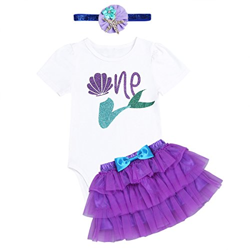dPois Baby Mädchen Bekleidung Set Romper Meerjungfrau Outfit 2Pcs Strampler + Rock Outfit Set Knderkleidung Babybekleidung Geburtstag Geschenk Gr. 74-92 Violett 74-80/9-12 Monate (Für Meerjungfrau-outfit Mädchen)