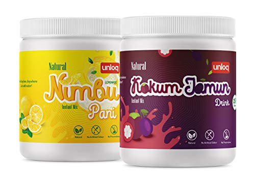 Unloq Instant Drink Mix Combo Pack, Nimbu Pani (Lemonade) & Kokum Jamun Drink, 375g Each