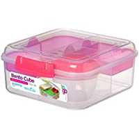 Sistema Bento Cube Box to Go with Fruit/Yoghurt Pot, 1.25 L - Clear/Pink