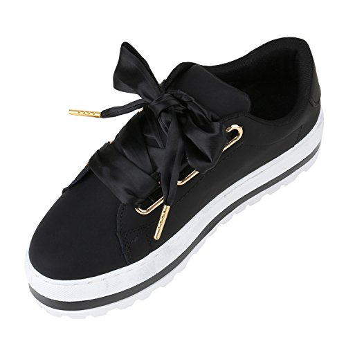 Damen Plateau Sneaker Lack Metallic Sneakers Schuhe Schwarz Schleife