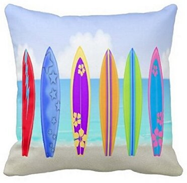 UK-Jewelry Top Quality Colorful Surfboards Beach Hot Summer Zippered Pillowcase Bedding Set Pillow Sham Twin Side Printing Pillow Protector 18x18