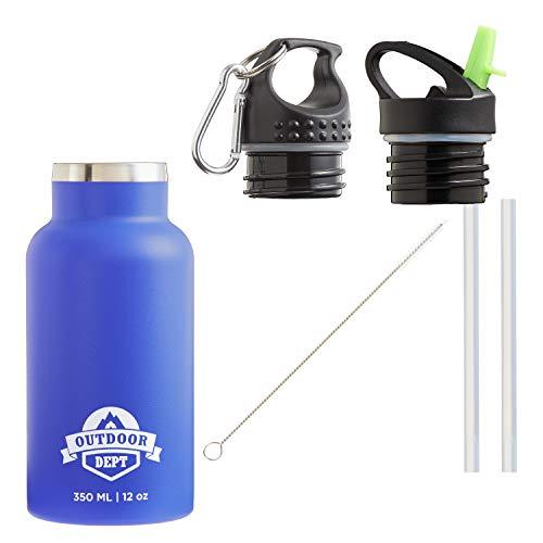 Isolierte Edelstahl Trinkflasche Kinder 350 ML BPA frei - Thermo Edelstahlflasche Kinderflasche Trinkflasche isoliert. Für Kohlensäure geeignet. 2 Deckel mit Karabiner und Strohhalm. In Blau.