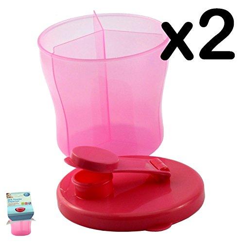 Contenitore per latte in polvere, First Steps-Dosatore latte in polvere, Rosa, 2 pezzi
