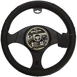 Sumex 2505FL1 Full Leather Funda de Volante, Negra con Cosido Rojo
