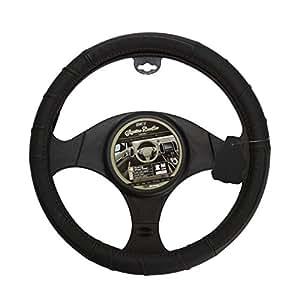 RACE SPORT 2505FL1 Couvre Volant Cuir, Noir/Surpiqure Rouge