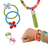 Neon Knicklichter Glow Schmuckset 120-teilig Armband Ring Kette Partyset zum Gestalten und Basteln verschiedene Leuchtfarben