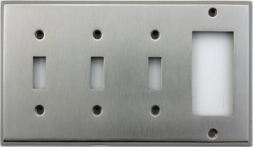 Light Switch Wall Plate (Classic Accents Stamped Steel Satin Nickel Four Gang Wall Plate - Three Toggle Light Switch Openings One GFI/Rocker Opening by Classic Accents)