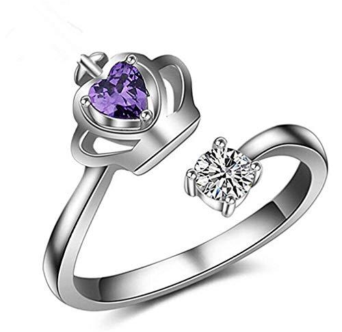 Scpink Creativo moda corona imperiale amare cristallo modelli femminili anello regolabile apertura (Argento)