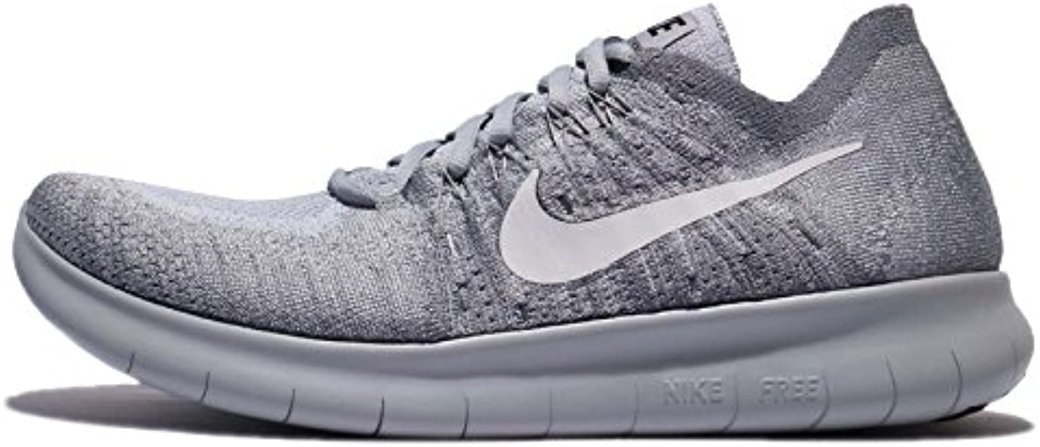 Nike Mens Free RN Flyknit 2017 Running Shoes (9.5  Wolf Grey/White M)