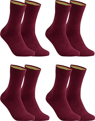 gigando - Socken Herren Baumwolle Uni Farben 4er oder 8er Pack in Premiumqualität - bunt farbige Strümpfe für Anzug, Business, Freizeit - ohne Naht - in bordeaux Größe 43-46