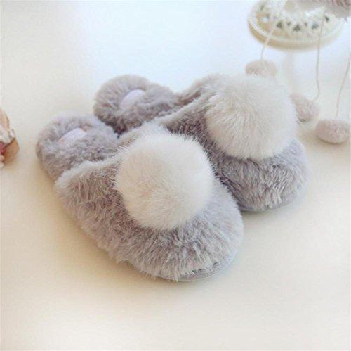 Mhgao Ladies Home Leisure Automne/hiver Chaussons en coton imitation fourrure de lapin Boule chaud Chaussons gris
