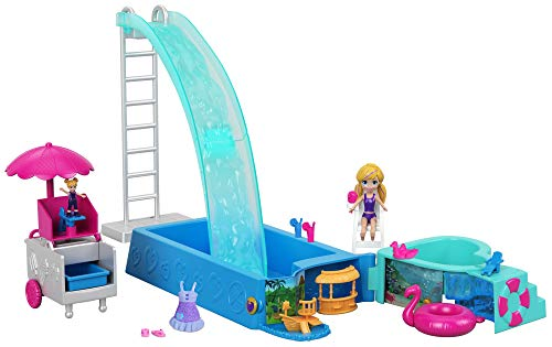 Polly Pocket Superpiscina de Polly, accesorios para muñecas (Mattel FTP75)