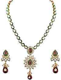 Sukkhi Classy Gold Plated CZ Rodo Light Necklace Set For Women