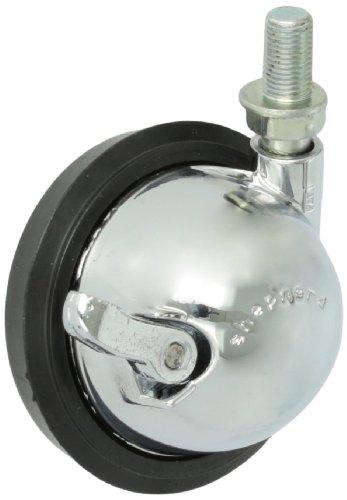 Shepherd Saturn Serie 7,6cm Durchmesser Gummi Rad Swivel-Ball Caster mit Bremse, 3/20,3cm Durchmesser x 5/20,3cm Länge unf24Gewindezapfen, 100lbs Kapazität, Helles Chrom Finish (Durchmesser-gummi-ball)