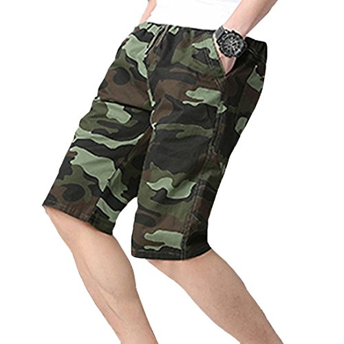 Herren Jogginghose Shorts Camouflage Strandhose GreatestPAK,Grün,XXXL
