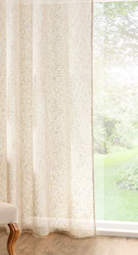 Tenda a pannello extra larga con lino, velo beige naturale, molto lunga, beige, 290x280cm /114x 110