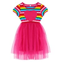 EXIU Baby Girls Rainbow Rabbit Doll Tulle Wedding Birthday Party Dress, Rose, 6-7 years