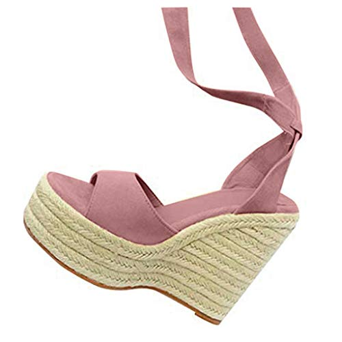COZOCO Damenmode Open Toe Schuhe Wedges Thick Bottom Schnür-Strandschuhe Römersandalen(rosa,39 EU)