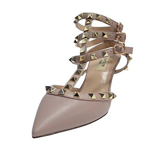 Kaitlyn Pan Damen Leder-Pumps, spitz, Nieten, Riemen, Slingback Kätzchen Pumps, Beige - Poudre Matte/Nude Straps/Gold Studs - Größe: 42 EU