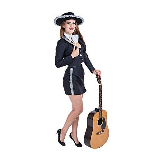 Charm Rainbow Damen Sexy Kostüm Frau Mariachi Schwarz Kleid Set Mädchen Uniform Ink. Jacke, Rock, Halstuch und Gürtel 3 Größe ()