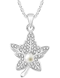 VK Jewels Pearl Studded Leaf Rhodium Plated Alloy CZ American Diamond Pendant With Chain For Women [VKP2546R]