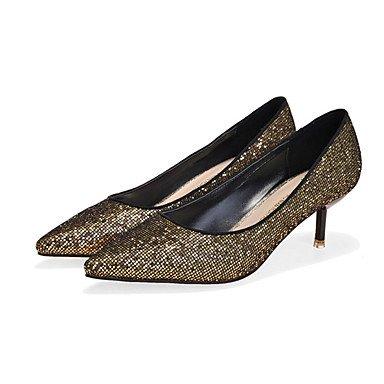 Moda Donna Sandali Sexy donna tacchi Comfort caduta in raso elasticizzato Casual Stiletto Heel altri nero / argento / Oro Altri Silver