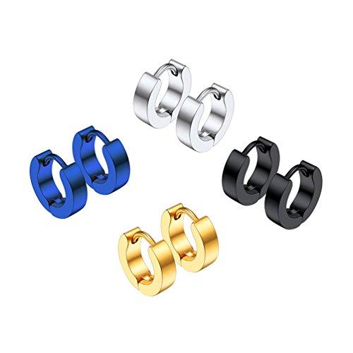 PROSTEEL Unisex Ohrschmuck Edelstahl Creolen Klappcreolen Ohrringe 3mm Breit Ohr Piercing Zubehören Gold Silber Schwarz Blau 4 Farben(4 Paar-Set)