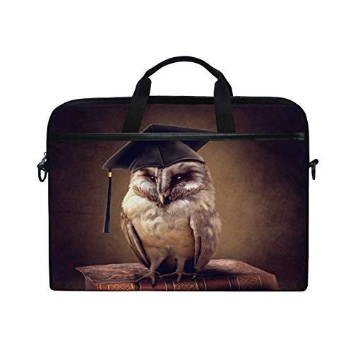 Hunihuni Animal Owl Wise Laptop Schultertasche Messenger Bag Case Aktentasche mit Tragegriff für Männer Frauen Jungen Mädchen