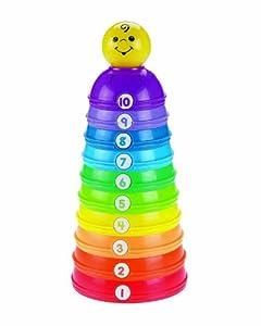 Fisher-Price - Pirámide de cuencos de colores con números (Mattel W4472)