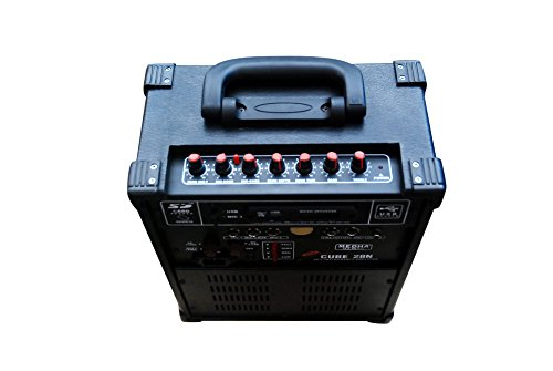 Medha D.J. Plus Professional Karoke Portable Rechargable P.A. Amplifier Cube With Recording And 1 Wireless Mic Inbuilt