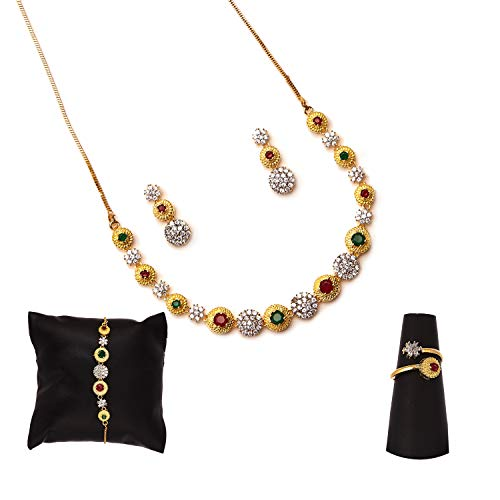 Zeneme American Diamond Traditional Fashion Jewellery Combo of Necklace Pendant Set/Ring/Bracelet with Earring for Women/Girls