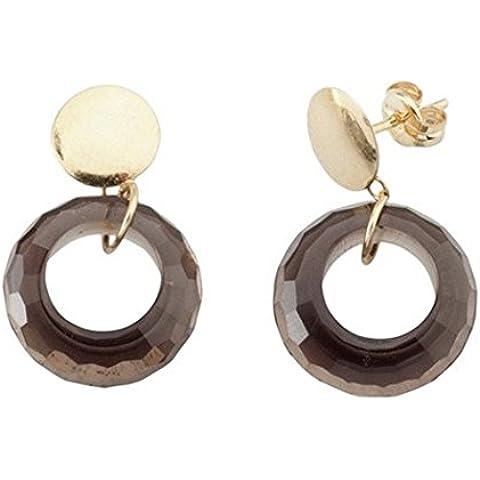 Orecchini dell'oro 18k rotonda semi-preziose topazio pietra