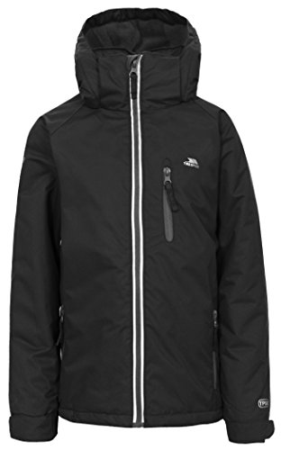 Trespass Trespass Cornell II, Black, 78, Warm Padded Waterproof Winter Jacket with Removable Hood Kids Unisex, Age 7-8, Black