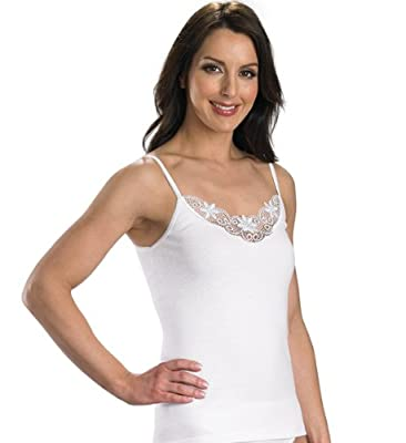 Slenderella Womens 100% Cotton Luxury Stretch Cami with Lace Detail & Spaghetti Straps Various Sizes