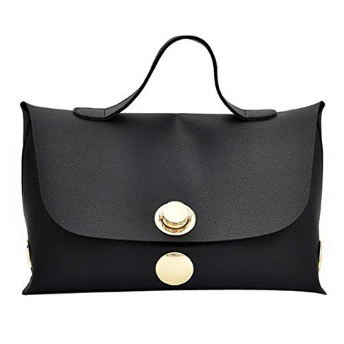 Kangrunmy borse tracolla donna argento,donna borsa vento morbido puro colore borsa donne messenger borse borsa a tracolla (nero)