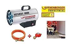 ROTHENBERGER 1500000051 Industrial Gas - Heiz - Kanone / Gebläse RoTurbo 19000 inkl. Piezo-Zündung, Schlauch und Regler, 18,2 kW