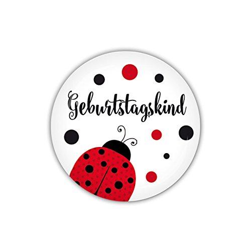 lijelove® Button 38mm Ø GLÜCKSKÄFER Geburtstagskind (Art. BU38-426) (Marienkäfer Kindergeburtstag Dekoration)