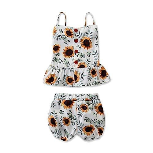 Baby Set Mädchen Sommer Toddler Kids Chiffon Strap ärmellos Shirt Spitzenkleid Sommerkleid + Blume Denim-Shorts Shorts Outfits