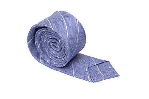 Notch Schmale Krawatte aus Leinentuch für Herren - Blaues Fischgrätenmuster und dünne, weisse Streifen