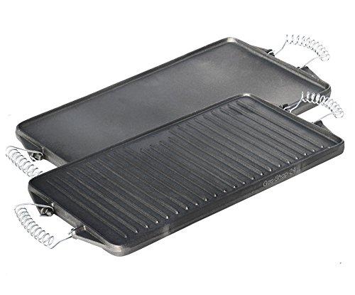 44 x 24 cm Grillplatte aus Gusseisen mit abnehmbaren Federstahlgriffen (geeignet für Gasgrill, Backofen, Gasherd, Campingkocher, Gaskocher) -Gussgrillplatte -