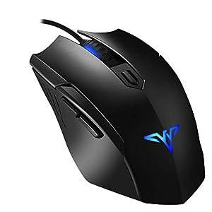 topelek Maus Gamer Professionelle, Maus Wired Gaming Sensor Optische 6Tasten und 4DPI frei, Spieler Maus ergonomisches Design Geeignet für PC, Notebook und MacBook–Schwarz