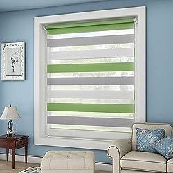 OUBO Doppelrollo Klemmfix ohne Bohren 60 x 150 cm (BxH) Grün-Grau-Weiß Fenster Duo Rollo mit Klemmträgern 60 cm Breit