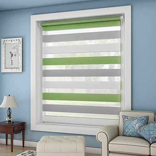 OUBO Store Enrouleur Jour Nuit Vert-Gris-Blanc 75 x 150 cm Clips Klemmfix sans Perçage Ni Forage Montage Simple