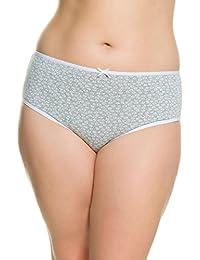 Ulla Popken Femme Grandes tailles Lot de 5 slips unis et imprimés femmes coton - Lot de 5 culottes Coton confortables sexy 710074