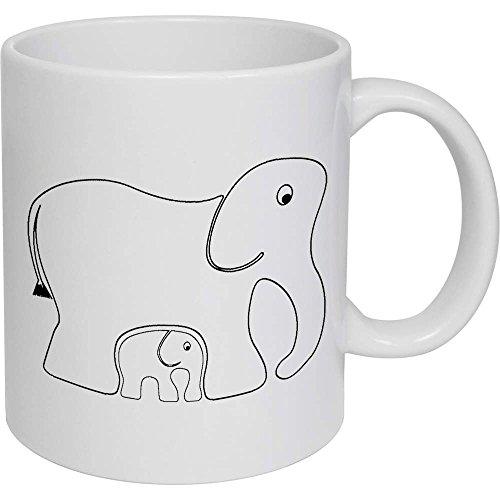 Azeeda 320ml 'Elefantes' Taza de Ceramica (MG00003818)