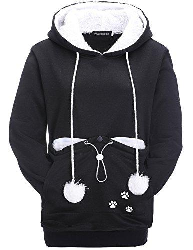 Leslady Damen Schwarz Kapuzenpullover Sweatshirt Kangaroo Carrier für kleine Katze Hunde Schwarz Grau Große Tasche ()