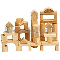 Toddler Woodyland bloques de madera (50 piezas Natural