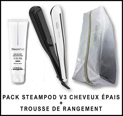 L'Oréal Professionnel Steampod 3.0 Lisseur + Crème Cheveux Epais 150 ml + Trousse De Rangement Hairprice