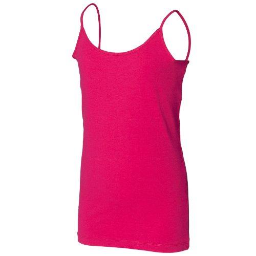 Skinni Minni Girls Long Length Spaghetti Strappy Vest Top (7-9) (Fuchsia)