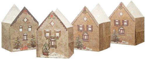 LUMINARIA 8534500 Lichtertüte Weihnachtsdorf  - 3er Set, Windlicht, Papier, 11 x 16 x 9 cm, Weiß
